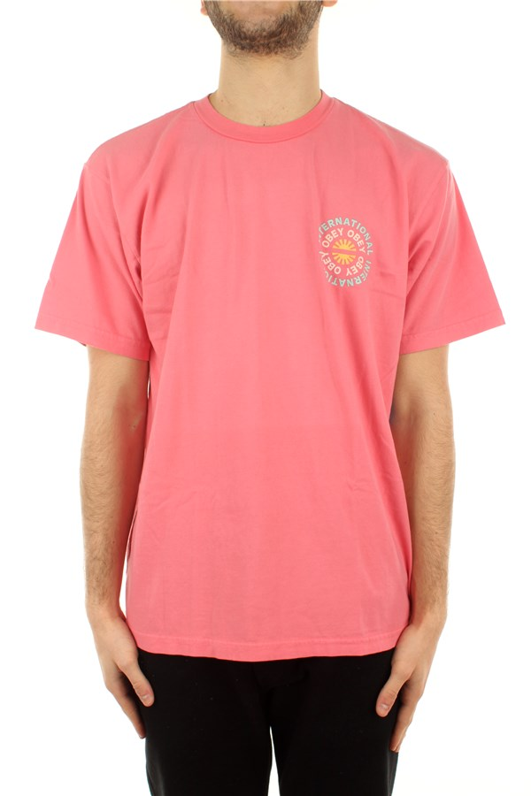 Obey T-shirt Short sleeve 163002605 Pink Lift