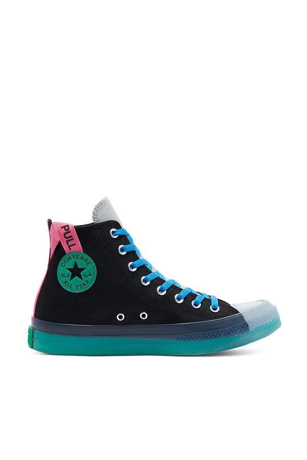 Converse high Black / court Green / hyper Pink